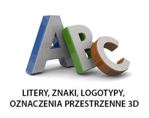Litery, znaki przestrzenne 3D